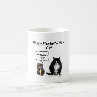 Gato gruñón/taza linda del día de madre del gatito taza básica blanca