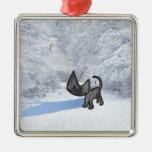 Gato hacia fuera en la nieve ornamento para reyes magos