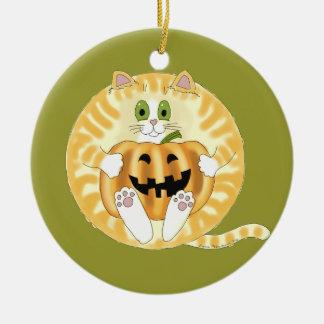 Gato Halloween de la chuchería Adorno Navideño Redondo De Cerámica
