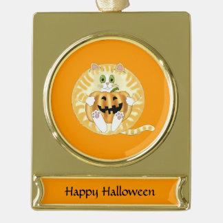Gato Halloween de la chuchería Adornos Navideños Dorados