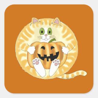 Gato Halloween de la chuchería Pegatina Cuadrada