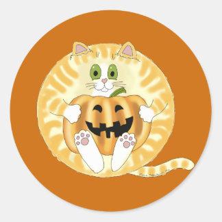 Gato Halloween de la chuchería Pegatina Redonda