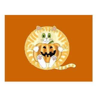 Gato Halloween de la chuchería Postales