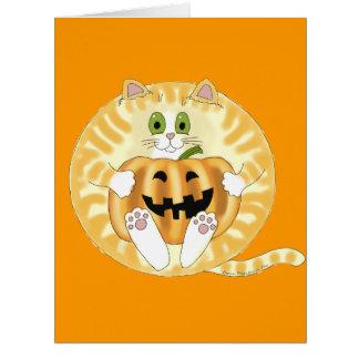 Gato Halloween de la chuchería Tarjeta De Felicitación Grande
