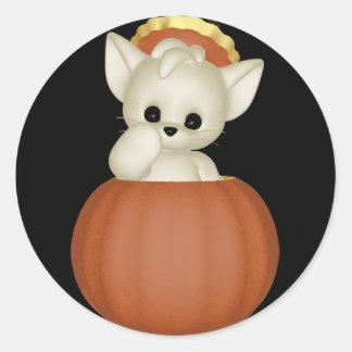 Gato Halloween del KRW Lil Scardy - modificado Pegatina Redonda
