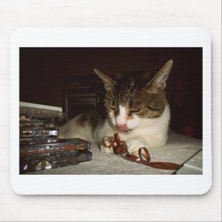 Gato hambriento para los casetes alfombrillas de ratón