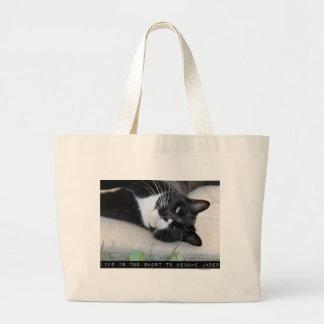 Gato hastiado del consejo bolsa tela grande