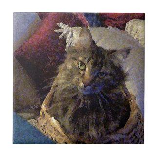 Gato hermoso del gatito del Coon de Maine del Azulejo Cuadrado Pequeño