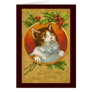Gato hermoso del navidad con las bayas del acebo tarjeta de felicitación
