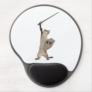Gato heroico del caballero del guerrero alfombrilla de ratón con gel