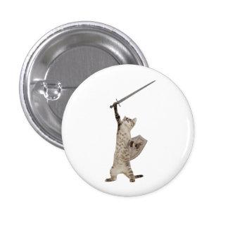 Gato heroico del caballero del guerrero pin redondo de 1 pulgada