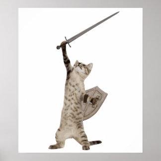 Gato heroico del caballero del guerrero póster