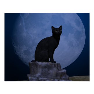 Gato iluminado por la luna impresiones