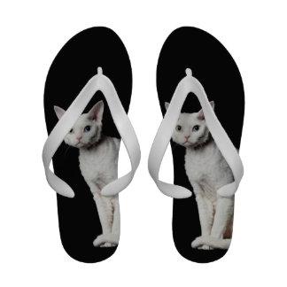 Gato impar-observado blanco 3 sandalias de playa