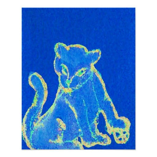 Gato-itude del azul del poster del gato del arte p