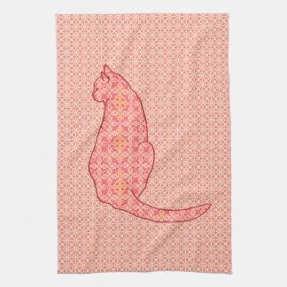 Gato japonés - batik anaranjado coralino toalla de cocina