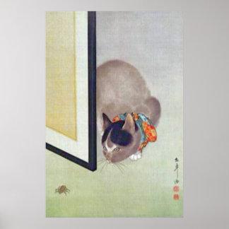 Gato japonés del vintage con la impresión del post