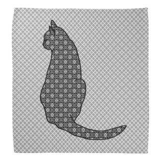 Gato japonés - impresión blanco y negro del kimono bandanas