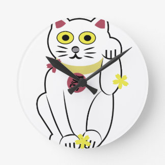 Gato japonés reloj redondo mediano