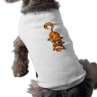 Gato juguetón del dibujo animado ropa macota