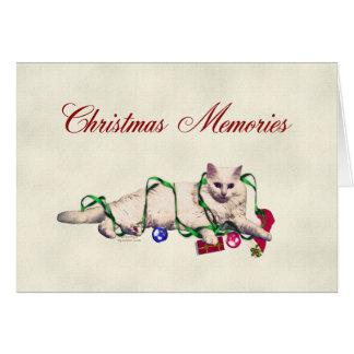 Gato juguetón del navidad tarjeta de felicitación