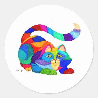 Gato juguetón etiqueta redonda