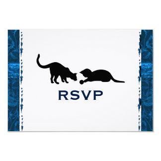 """Gato juguetón RSVP moderno azul Invitación 3.5"""" X 5"""""""