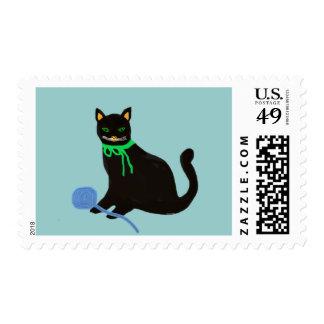 Gato juguetón sello