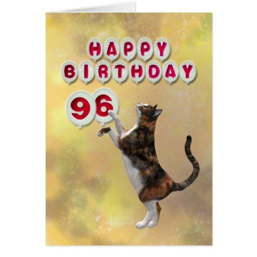 Gato juguetón y 96.os globos del feliz cumpleaños tarjeta