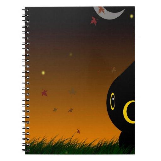 Gato lindo animal abstracto de la noche libros de apuntes con espiral