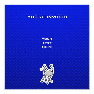 Gato lindo; Azul Invitación 13,3 Cm X 13,3cm