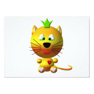 """Gato lindo con la corona y los corazones invitación 5"""" x 7"""""""