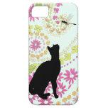 Gato lindo con las cubiertas de la libélula iphone iPhone 5 Case-Mate cárcasa
