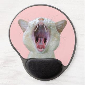 Gato lindo de bostezo alfombrillas de ratón con gel