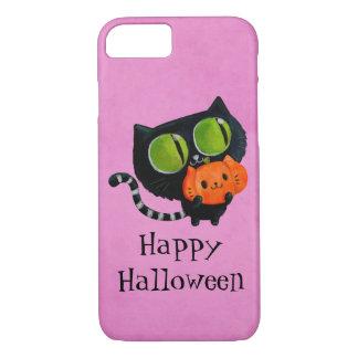 Gato lindo de Halloween con la calabaza Funda iPhone 7