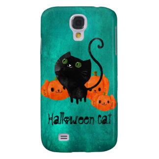 Gato lindo de Halloween con las calabazas Carcasa Para Galaxy S4