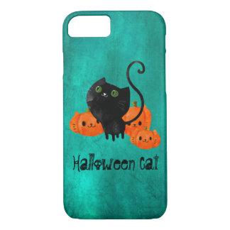Gato lindo de Halloween con las calabazas Funda iPhone 7