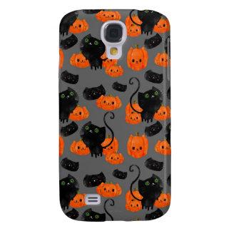 Gato lindo de Halloween con las calabazas Funda Para Samsung Galaxy S4