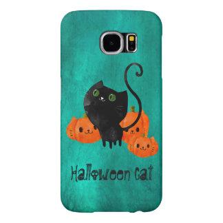 Gato lindo de Halloween con las calabazas Funda Samsung Galaxy S6