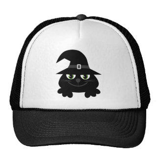 Gato lindo de Halloween del dibujo animado con el  Gorro