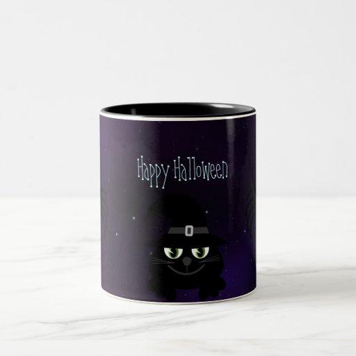 Gato lindo de Halloween y noche mágica de las arañ Taza De Café