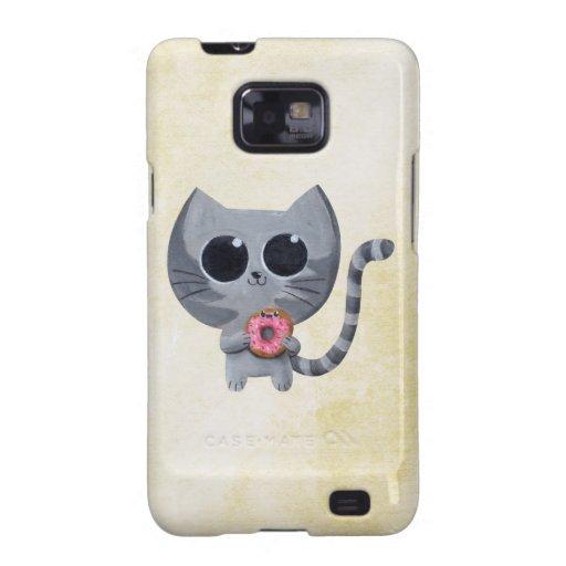 Gato lindo de Kawaii con el buñuelo Samsung Galaxy S2 Carcasas