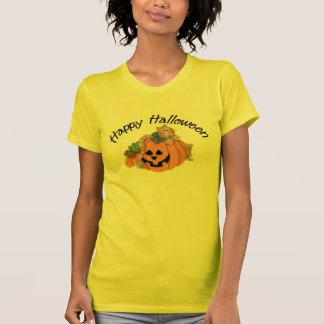 Gato lindo de la calabaza con el feliz Halloween D Camisetas