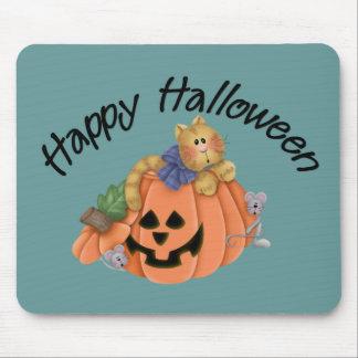 Gato lindo de la calabaza con el feliz Halloween D Alfombrilla De Raton