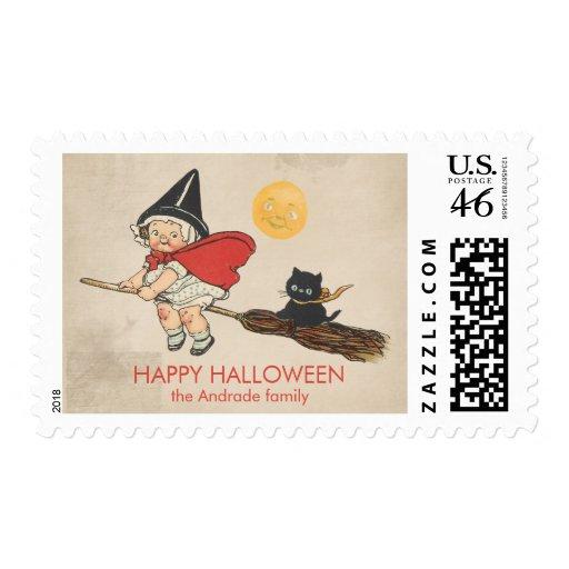 Gato lindo de la escoba de bruja de Halloween del  Franqueo