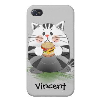 Gato lindo de la hamburguesa y nombre de encargo iPhone 4 carcasas