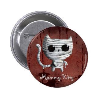 Gato lindo de la momia de Halloween Pin Redondo De 2 Pulgadas
