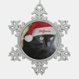 Gato lindo de Navidad con el gorra de Santa, Adorno De Peltre En Forma De Copo De Nieve