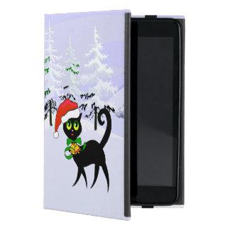 Gato lindo de Navidad en el gorra de Santa iPad Mini Protectores