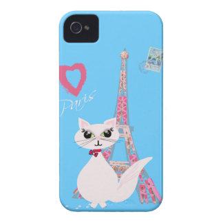 Gato lindo de París del amor de I iPhone 4 Case-Mate Funda